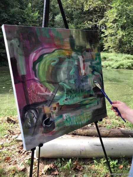 Lori Rivera's abstract work in progress