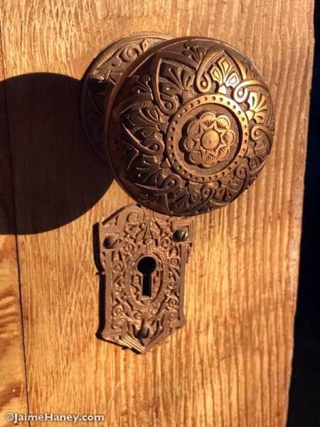 Ornate brass door knob