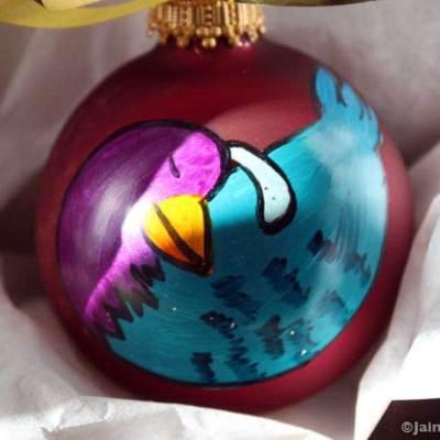 Partridge bird ornament hand painted glass Christmas ornament