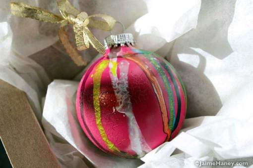 A different side to Pink No. 2 pink graffiti style ornament in box