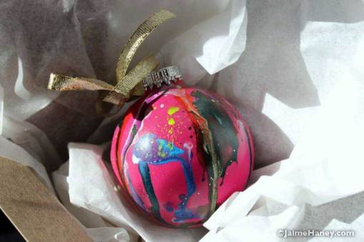 Pink No. 2 pink graffiti style ornament in box