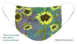 Face mask with abstract painted sunflowers