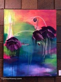 Large loosely painted purple hellebores original painting