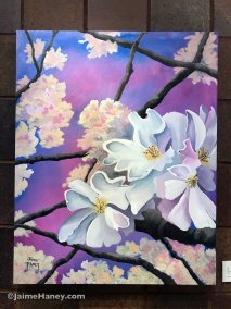 Large loosely painted white cherry blossoms original painting