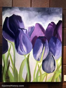 Large loosely painted purple tulips original painting