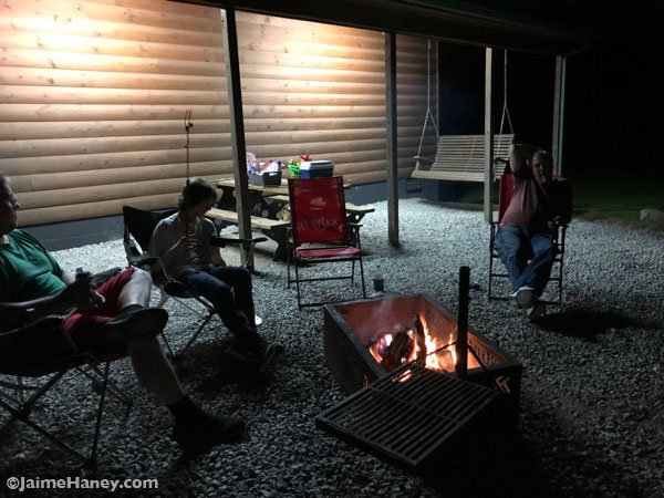 campfire at the end of a long riding day