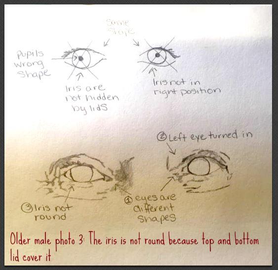 older male eye drawing iris shape