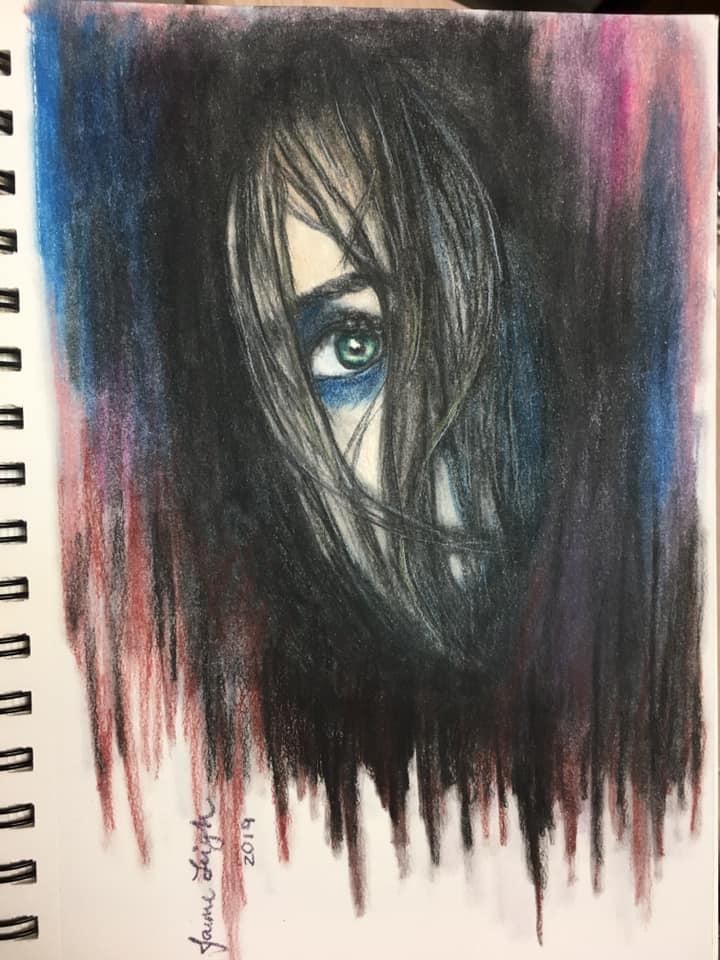 Colored pencil blending eye