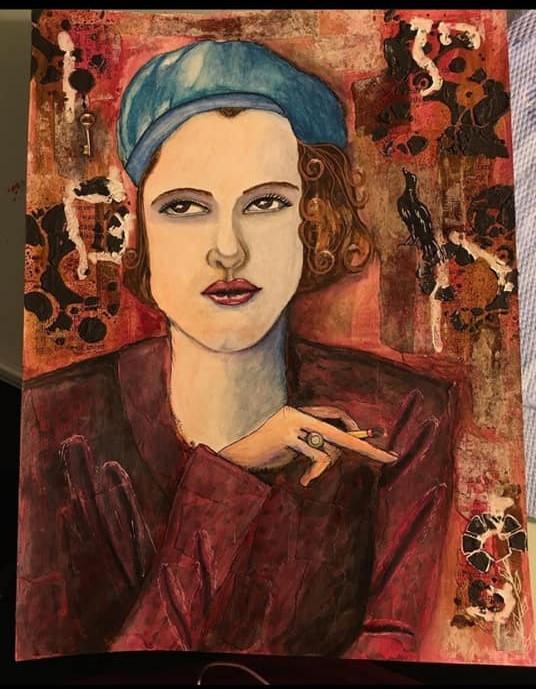 Vintage Girl painting