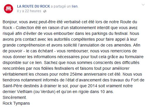 Route du Rock - Message facebook