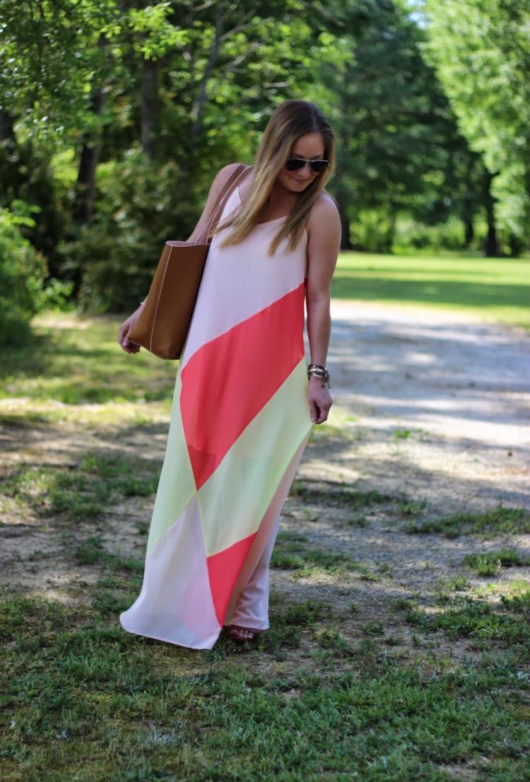 color block maxi dress for summer