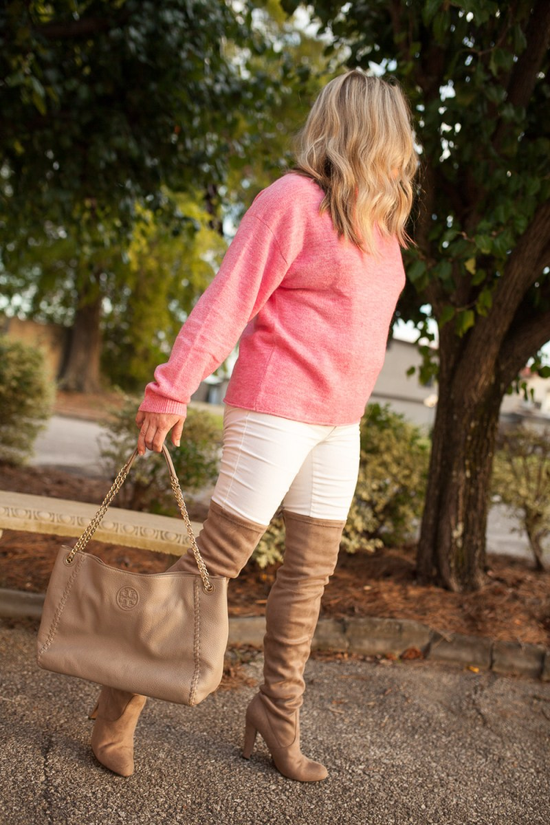 Pink Mock Neck Sweater + Over The Knee Boots
