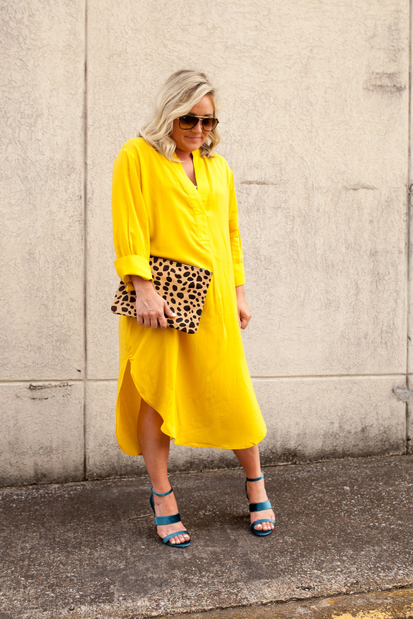 mustard mumu dress