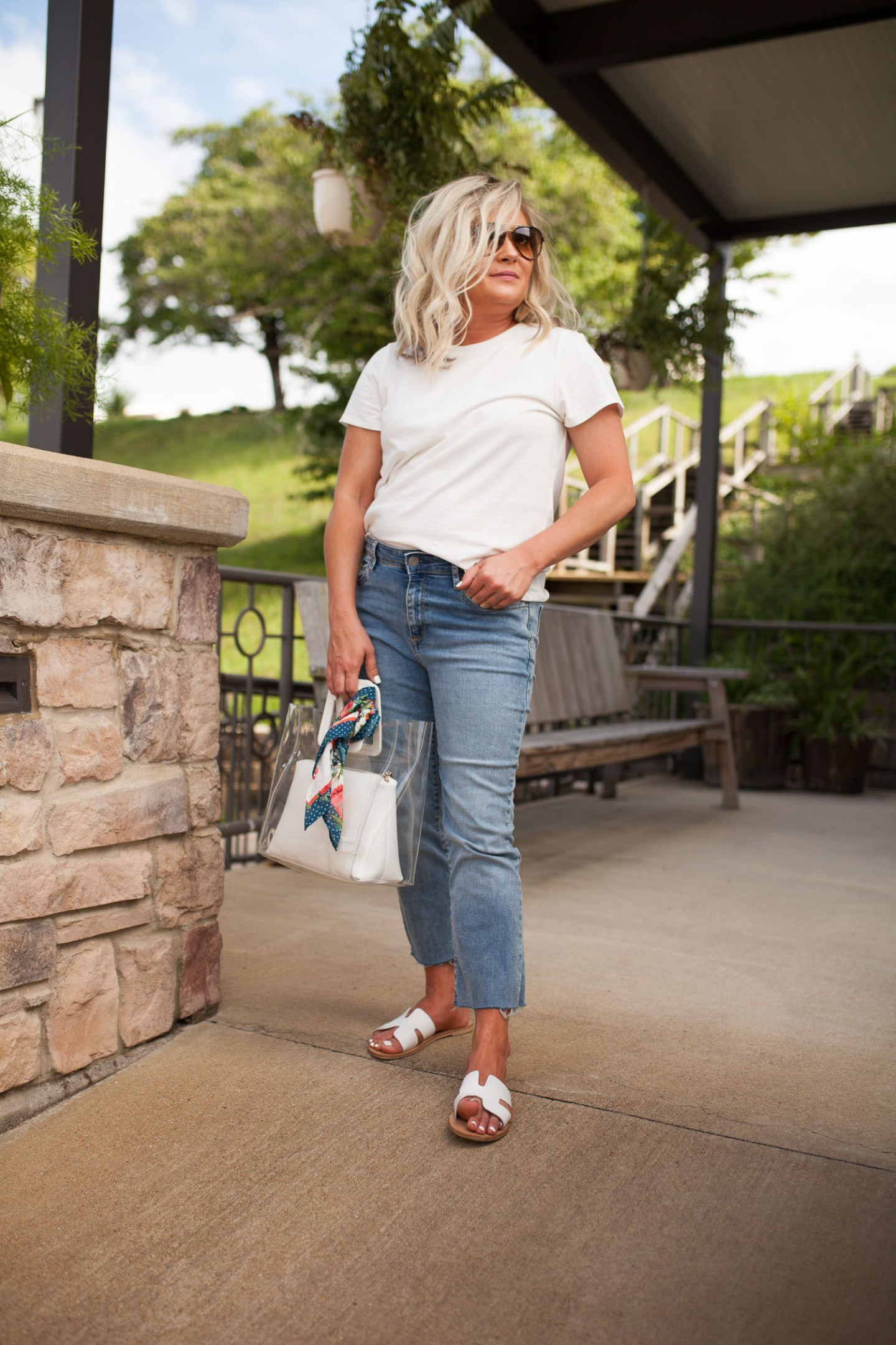 simple white tee and cropped denim