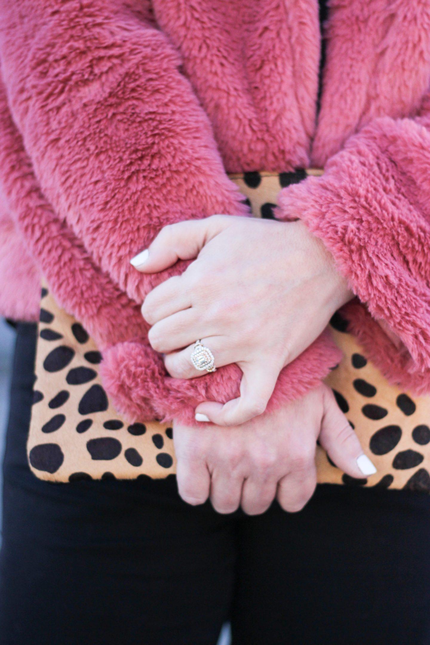 leopard calf hair pouch clutch