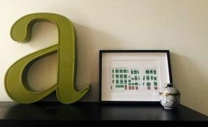 Letter a and frame for interior design scene