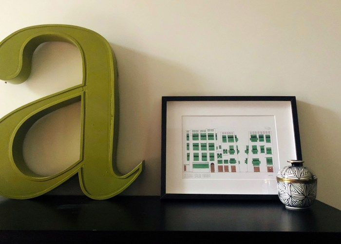 Letter a and frame for interior design scene