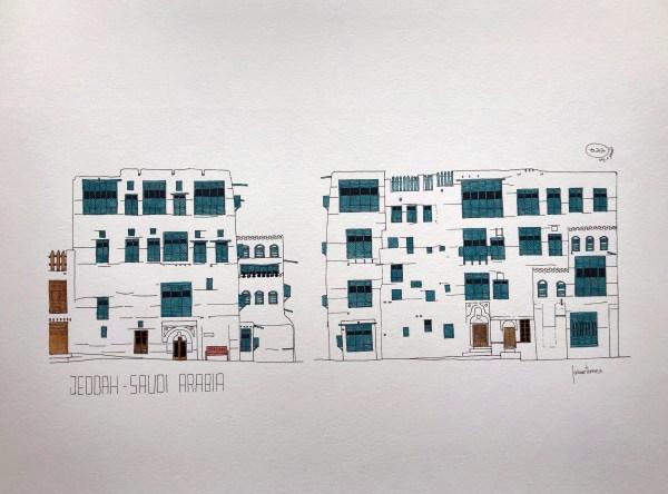 Art print watercolor of Jeddah AlBalad facade in Saudi Arabia Indian ink and blue color mashrabiyah