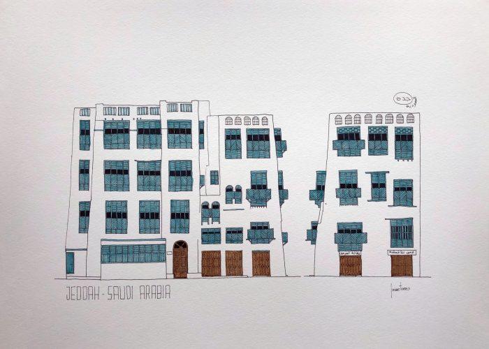 Drawing sketch watercolor of Jeddah AlBalad facade in Saudi Arabia Indian ink and blue color mashrabiyah