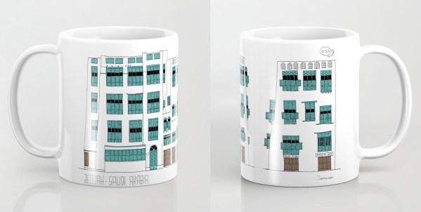 11 oz. white/turquoise mug with printed design of facades of Jeddah AlBalad by Jaimesan