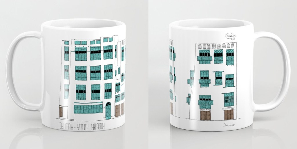 11 oz. white/turquoise mug with printed design of facades of Jeddah AlBalad by Jaimesan