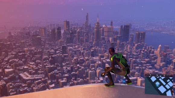 Spidey sits atop a building looking over Manhattan.