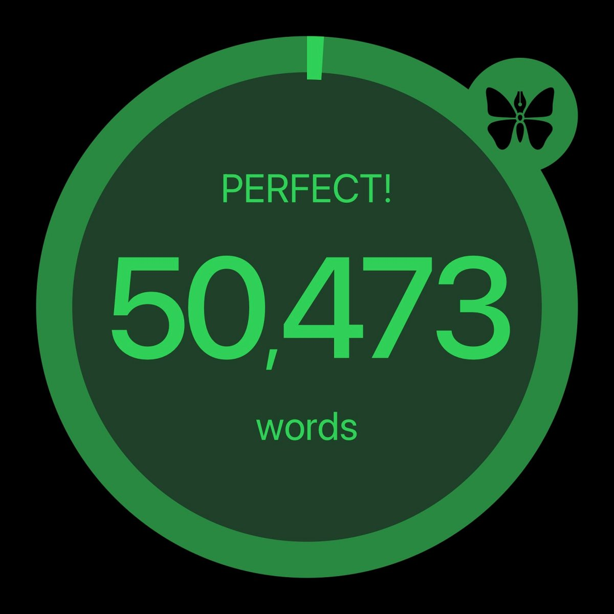 A word count image showing 50,473 words written