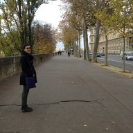 """Hannah rocking the """"I'm wandering the streets of Paris in autumn"""" look."""