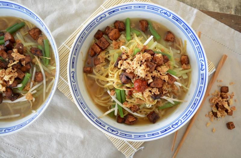 Recept Noedel soep met tofu www.jaimyskitchen.nl