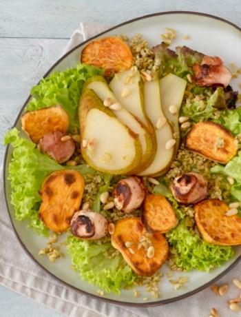 Salade met Freekeh, Geitenkaas en Zoete Aardappel www.jaimyskitchen.nl