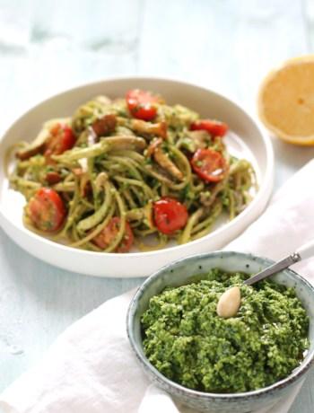 Pasta met spinazie amandel pesto www.jaimyskitchen.nl