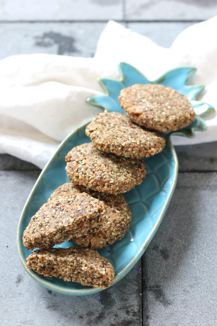 Pindakaas en zaden koeken www.jaimyskitchen.nl