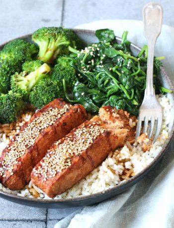Recept Vegan zalm met teriyaki saus www.jaimyskitchen.nl