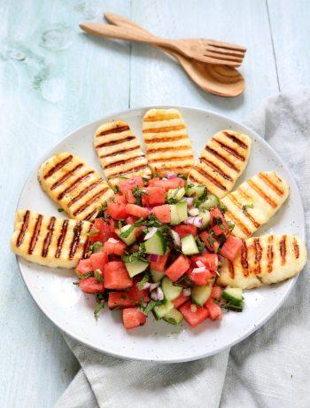 BBQ Haloumi kaas met watermeloen salsa www.jaimyskitchen.nl