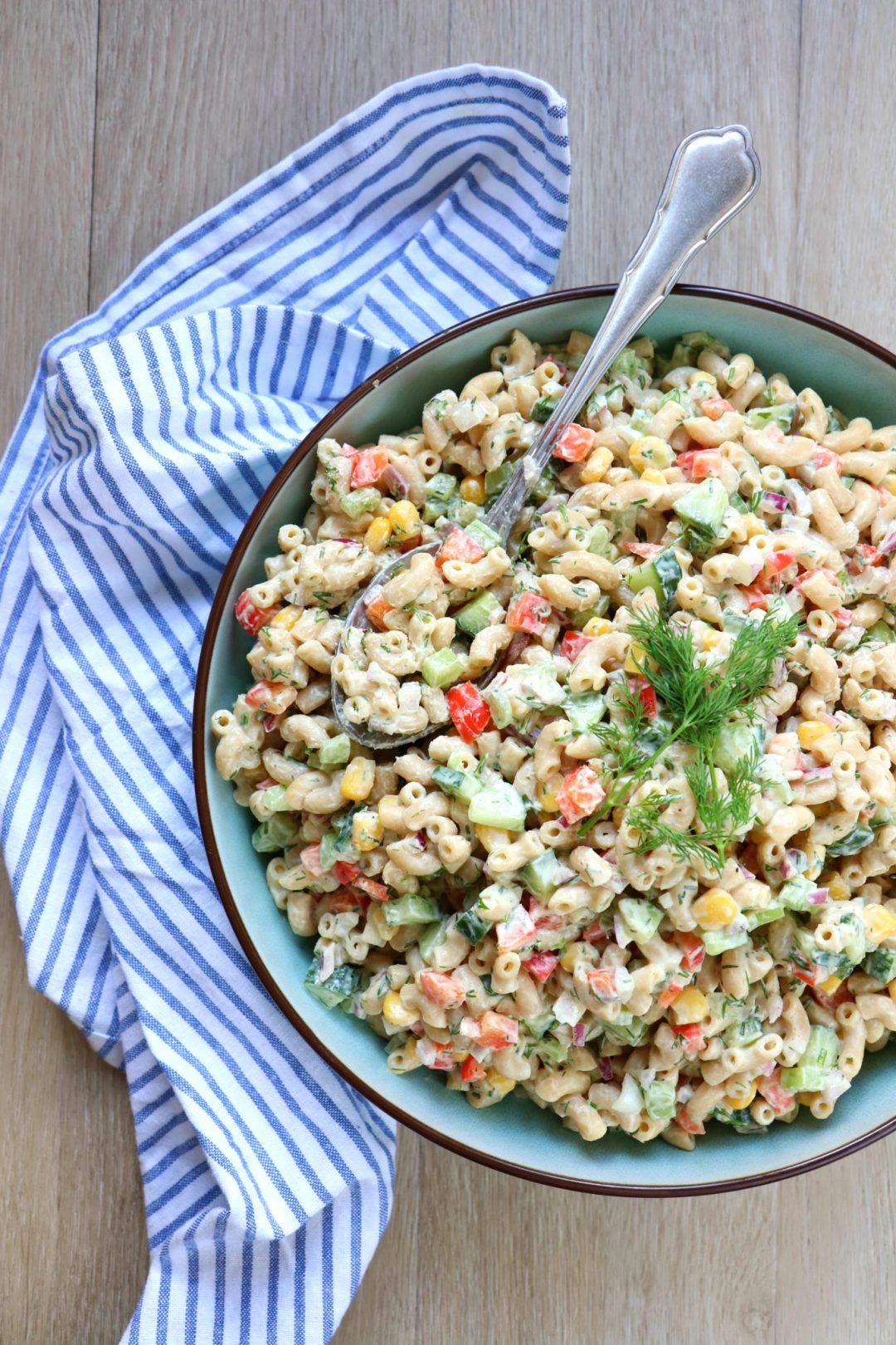 Recept macaroni pasta salade vega www.jaimyskitchen.nl
