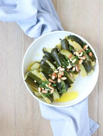Recept gestoomde courgettes met amandelen www.jaimyskitchen.nl