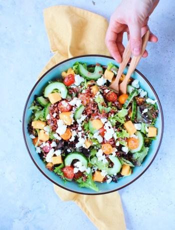 Recept rijst salade met mango en feta