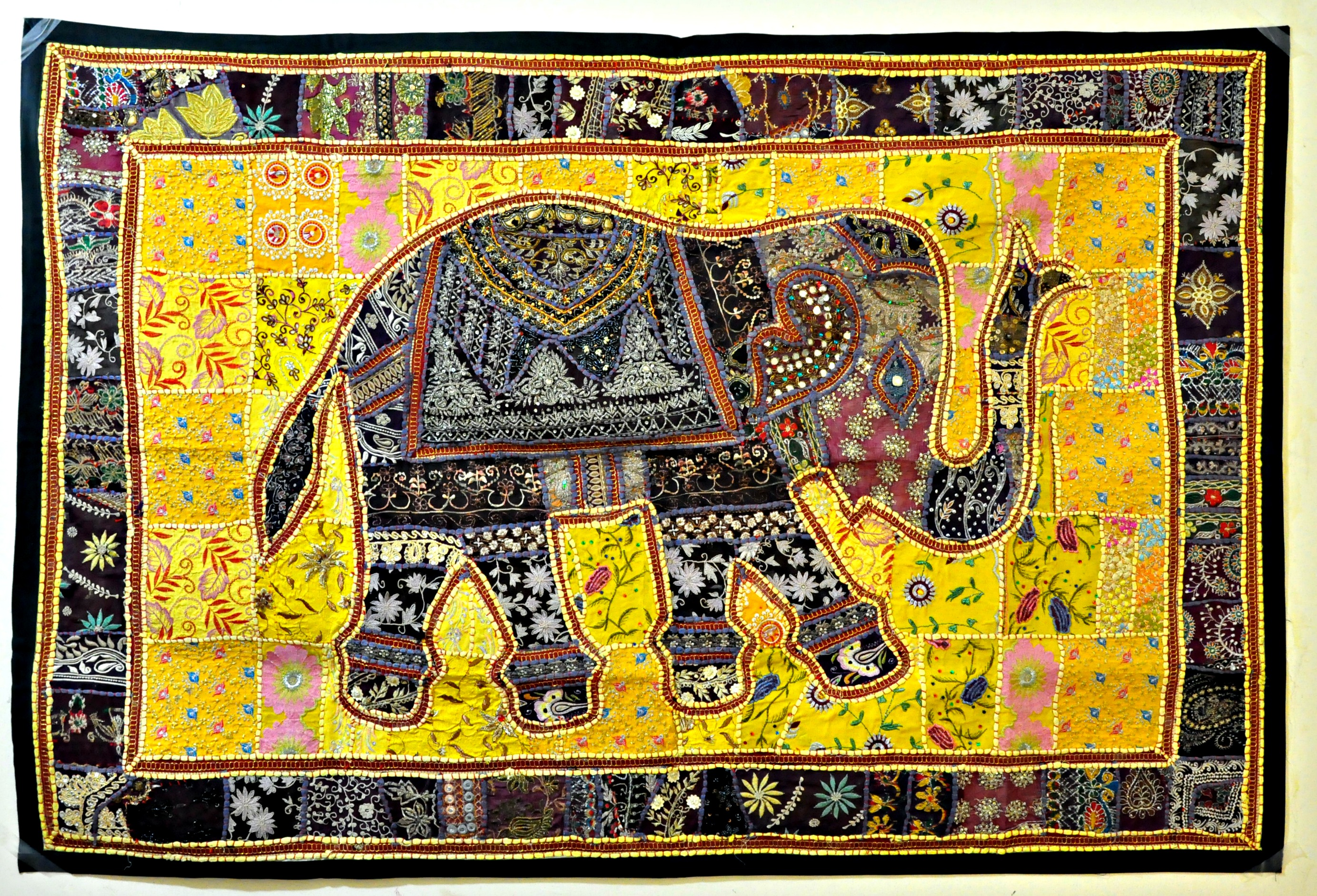 Indian Vintage Handmade Patchwork Tapestry Wall Hanging  embroidered table runner Indian folk