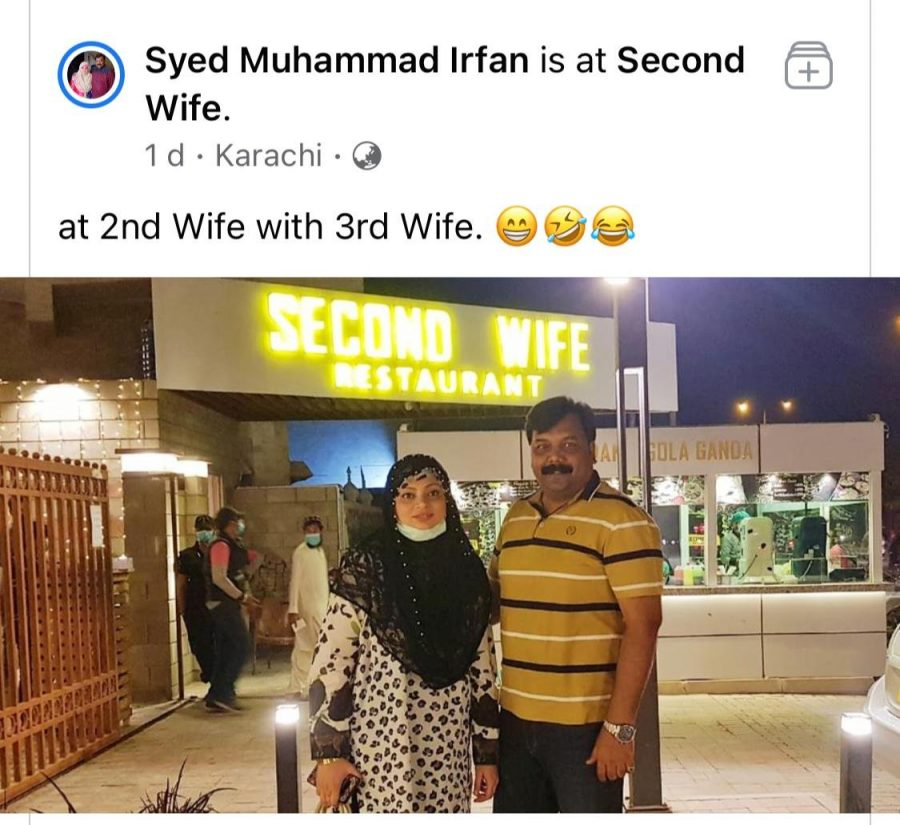 Man at the second wife restaurant with his third wife viral photo