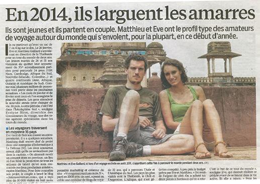 Un article sur notre projet dans le Parisien & Aujourd'hui en France - J'ai Une Ouverture - Tour du Monde