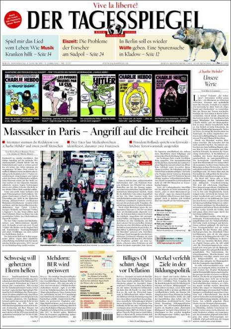 De Tagesspiegel - Allemagne - Je suis Charlie
