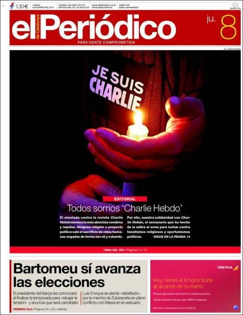 El Periodico - Barcelone - Espagne - Je suis Charlie