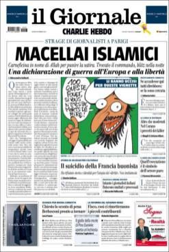 Il Giornale - Milan - Italie - Je suis Charlie