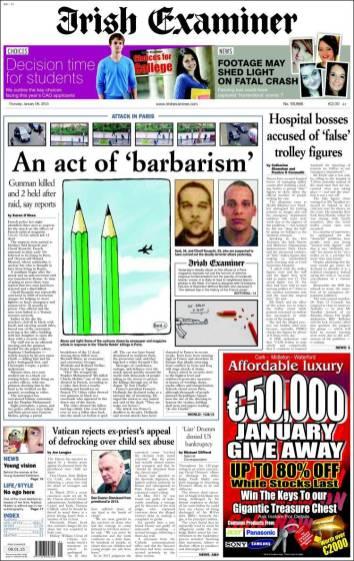 Irish Examiner - Irlande - Je suis Charlie