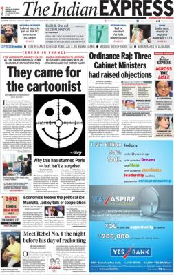 The Indian Express - New Delhi - Inde - Je suis Charlie