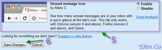 Unread message icon option