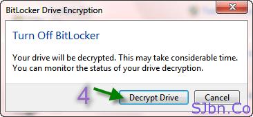 BitLocker Drive Encryption -- Decrypt Drive