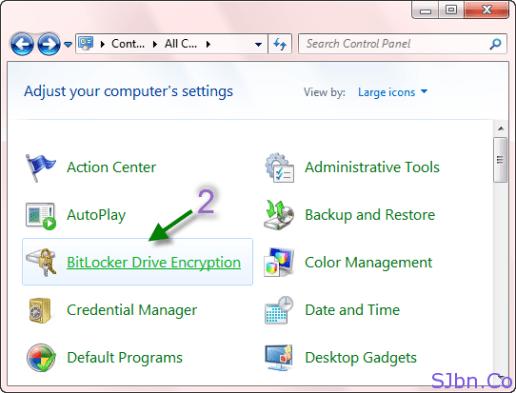Control Panel -- BitLocker Drive Encryption