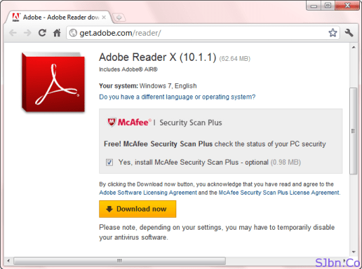 Get McAfee Security Scan Plus With Adobe Reader In Google Chrome