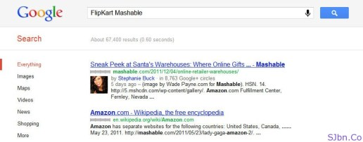 FlipKart Mashable Google Search Result